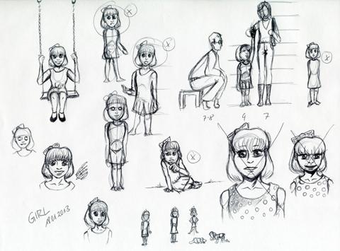Skizzen für Entwurf kleines Mädchen