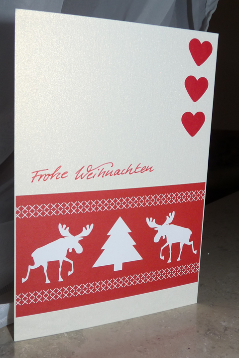 Weihnachtskarte in Rot-Weiß