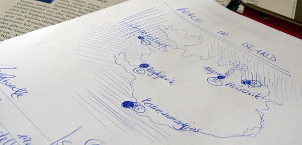 Skizze einer Karte von Island