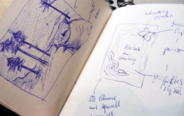 Blick in mein Notiz- und Skizzenbuch