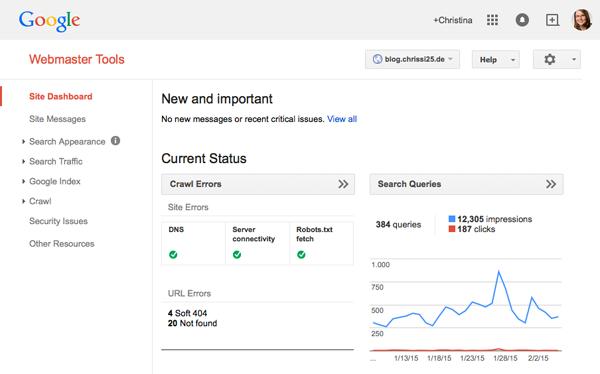Webmastertools von Google