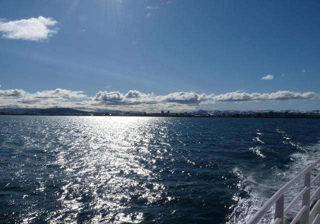 Sonne über der Bucht von Reykjavík