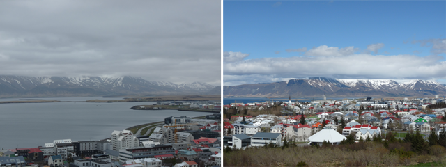 Ausblick von der Halgrimskirkja (links) und dem Perlan View Point (rechts)