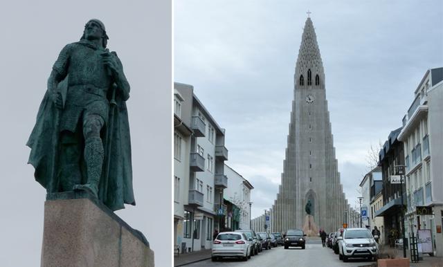 Hallgrímskirkja und Leifur Eriksson